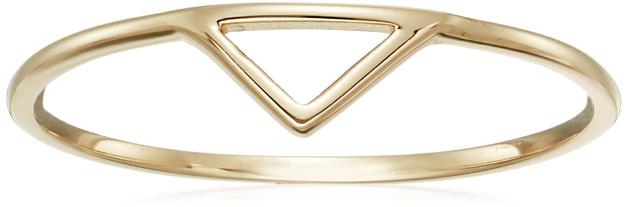 14k Yellow Gold Triangle Ring, Size 8