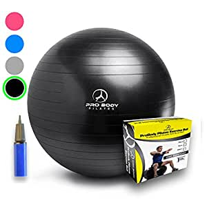 Exercise Ball - Professional Grade Anti-Burst Yoga Fitness, Balance Ball for Pilates, Yoga, Stability Training and Physical Therapy (Black, 55 cm)