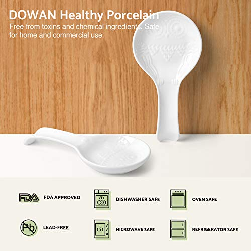 DOWAN 2 Packs Porcelain Owl Spoon Rests 9.5-inch Green Resting Cooking Spoons or Utensils