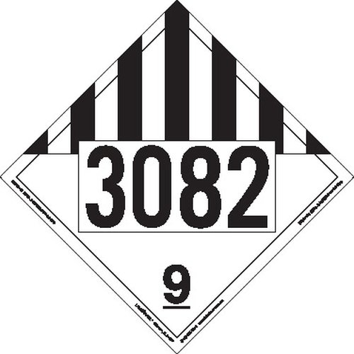 Labelmaster ZT193082 UN 3082 Miscellaneous Dangerous Goods Hazmat Placard, Tagboard (Pack of 25)