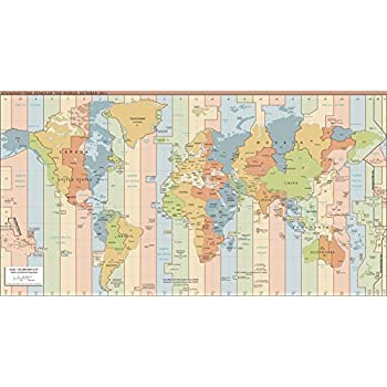 Amazoncom Map Poster  Standard time zones of the world  24