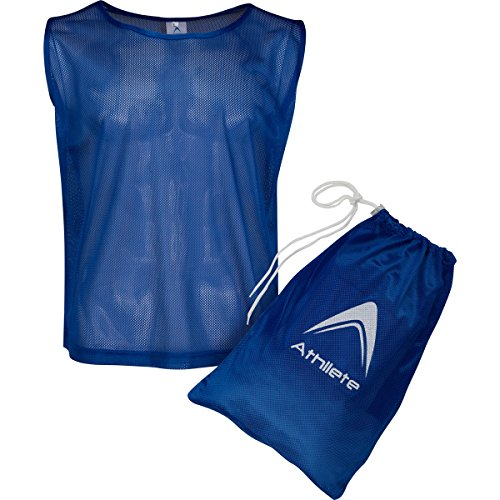 Athllete Set of 12 - Adult Scrimmage Vests/Pinnies/Team Practice Jerseys with FREE Carry Bag. by (Navy Blue, Large)