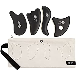 4 Gua Sha Scraping Massage Tools with Smooth Edge ✮ High Quality Handmade Bian Stone Set ✮ Facial and Body ✮ Best GuaSha Physical Therapy Tool ✮ Trigger Point Treatment ✮ Storage Bag ✮ E-Book Bonus