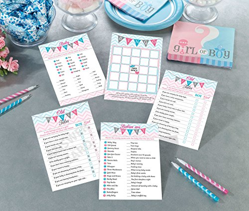 Lillian Rose Baby Gender Reveal Shower Game Cards, Pink/Blue/White, 5'' x 7'' by Lillian Rose (Image #1)