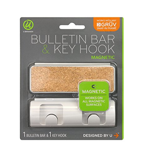 (U Brands Gruv Magnetic Bulletin Bar and Key Hook, White, 1.5 x 4.25 Inches)