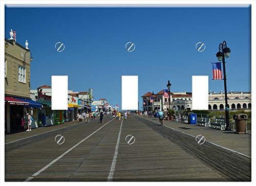 (Switch Plate Triple Toggle - Boardwalk Ocean City Beach Ocean New Jersey)