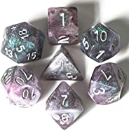 UDIXI 7PCS Polyhedral Resin Dice, D&D Dice, Sparkle Galaxy DND Dice Set- for Role Playing Dice Games as Du