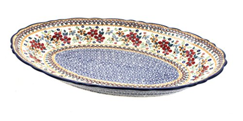 Blue Rose Polish Pottery Red Daisy Large Oval Serving Platter -