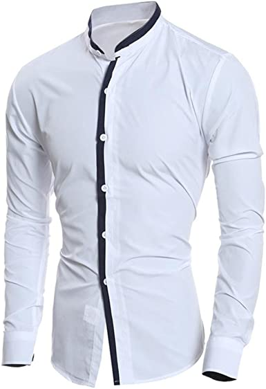 Culater® Hombre Camisas Manga Larga Asimétrico Men Fashion Slim Fit Casual Shirts (XS, Blanco): Amazon.es: Ropa y accesorios