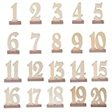 OTGO 1-20 Wooden Table Numbers Card with Holder Base for Wedding Birthday Party Decor,12×14.5cm