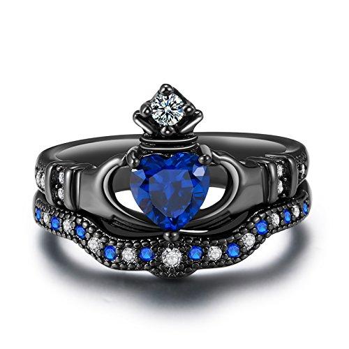 sapphire claddagh ring - 4