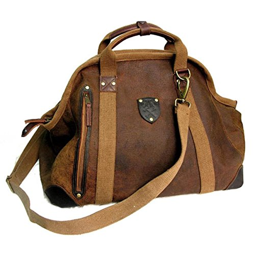 - Travel Duffel Bag Waterproof Canvas Genuine Leather Weekend bag Overnight Carry-on Hand Bag