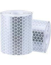 Rovtop Cinta reflectora para Cinta de Advertencia de Seguridad Cinta para marcar de Seguridad 2 Rollos de 5cm x 300cm Plata Blanca