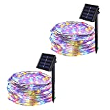 JMEXSUSS 2 Pack 8 Modes 100 LED 32.8ft Solar Powered Waterproof Fairy String Copper Wire Lights for Christmas, Bedroom,...