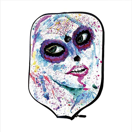 iPrint Neoprene Pickleball Paddle Racket Cover Case,Girls,Grunge Halloween Lady with Sugar Skull Make Up Creepy Dead Face Gothic Woman Artsy,Blue Purple,Fit for Most Rackets - Protect Your Paddle]()
