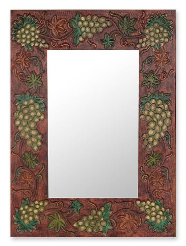 CDM product NOVICA Decorative Wood Wall Italian Vineyard' Leather Mirror big image