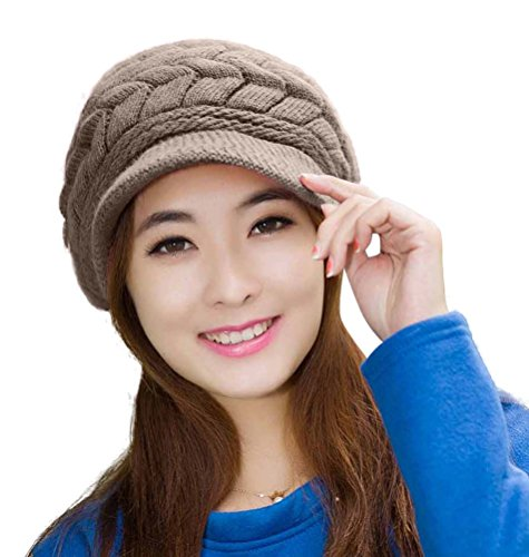 HINDAWI Winter Hats for Women Girls Warm Wool Knit Snow Ski Skull Cap with Visor (Brown)