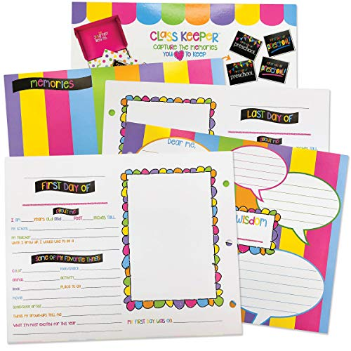 (School Memory Scrapbook Refill Extra Pages Kits (Two Grades) for First & Last Day of School for Class Keeper Memory Keepsake Book for Girls)