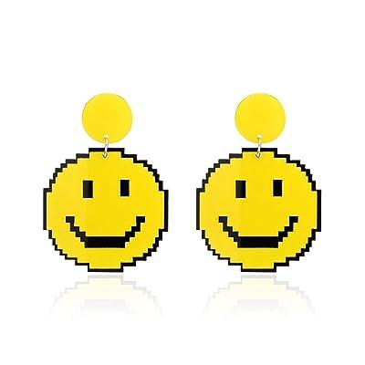 aretes aretes aretes divertidos acrílico smiley temperamento largo párrafo personalidad salvaje hembra: Salud y cuidado personal