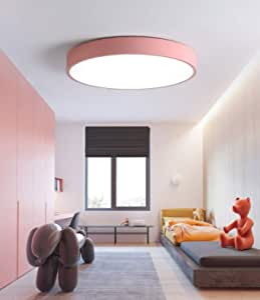 Modern Ultrathin Pink LED Ceiling Light Lamp 3 Color Temperatures in One (3000k / 4000k / 6500k) LED Flush Mount Ceiling Light – 30W 300W Equivalent Square LED Ceiling Lamp 5x40cm