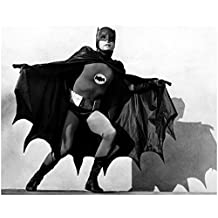 Adam West 8x10 B&W Photo Batman TV 66 Standing Facing Forward Arms Cape Outstretched Full Costume Mask Bat Shadow Background Wlo