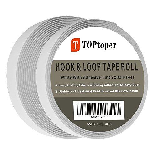 Hook and Loop Tape Roll Self Adhesive Back Fastening Strips by TOPtoper 1 Inch x 32.8 Feet (Hook Loop Fastener Tape Rolls)