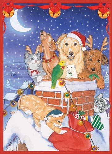 PIPS001 2 Boxes, Animal Pet Gifts, Dog, Cat with Other Pet Sitters Chim Chimney Christmas Cards Set of 10 Cards & 10 envelopes