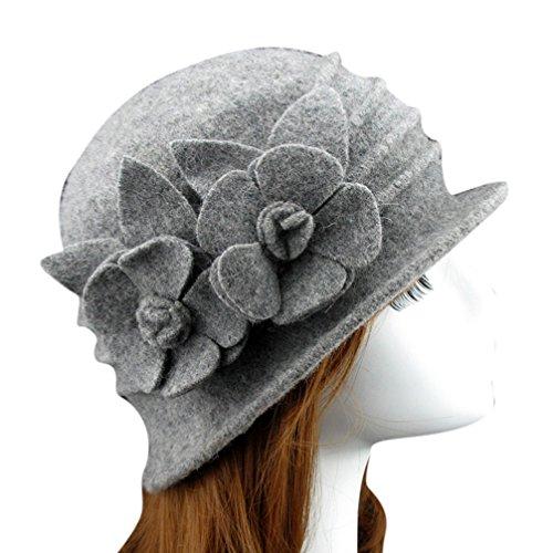 Telamee Womens Wool Felt Round Top Light Grey Cloche Hat Flower Fedoras Trilby