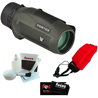 Vortex Optics S136 Solo 10x36 Monocular + Micro Fiber Cleaning Cloth + Cleaning and Care Kit + Floating Foam Strap Red by Vortex Optics