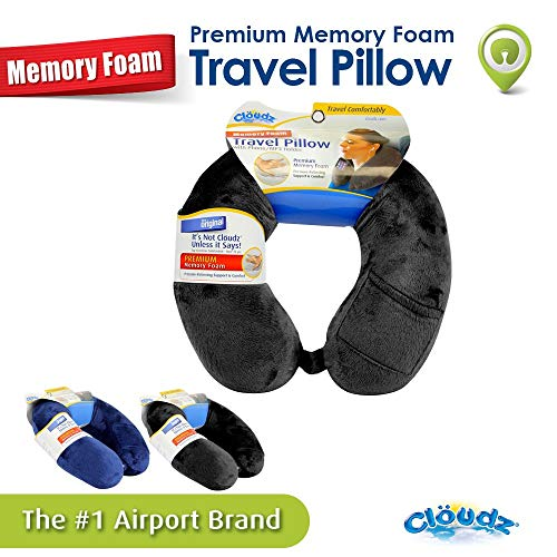 Cloudz Memory Foam Travel Neck Pillow with Snap & Pocket - Black