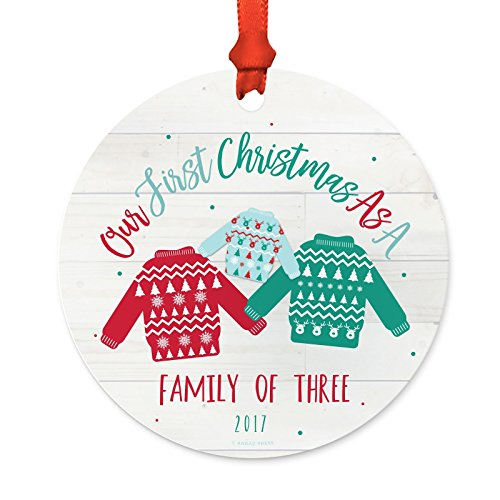 Andaz Press Family Metal Christmas Ornament, Our First Christmas as a Family of Three 2018, Fair Isle Holiday Ugly Sweater, 1-Pack, Includes Ribbon and Gift Bag, Newborn New Baby Mom Dad Xmas Present