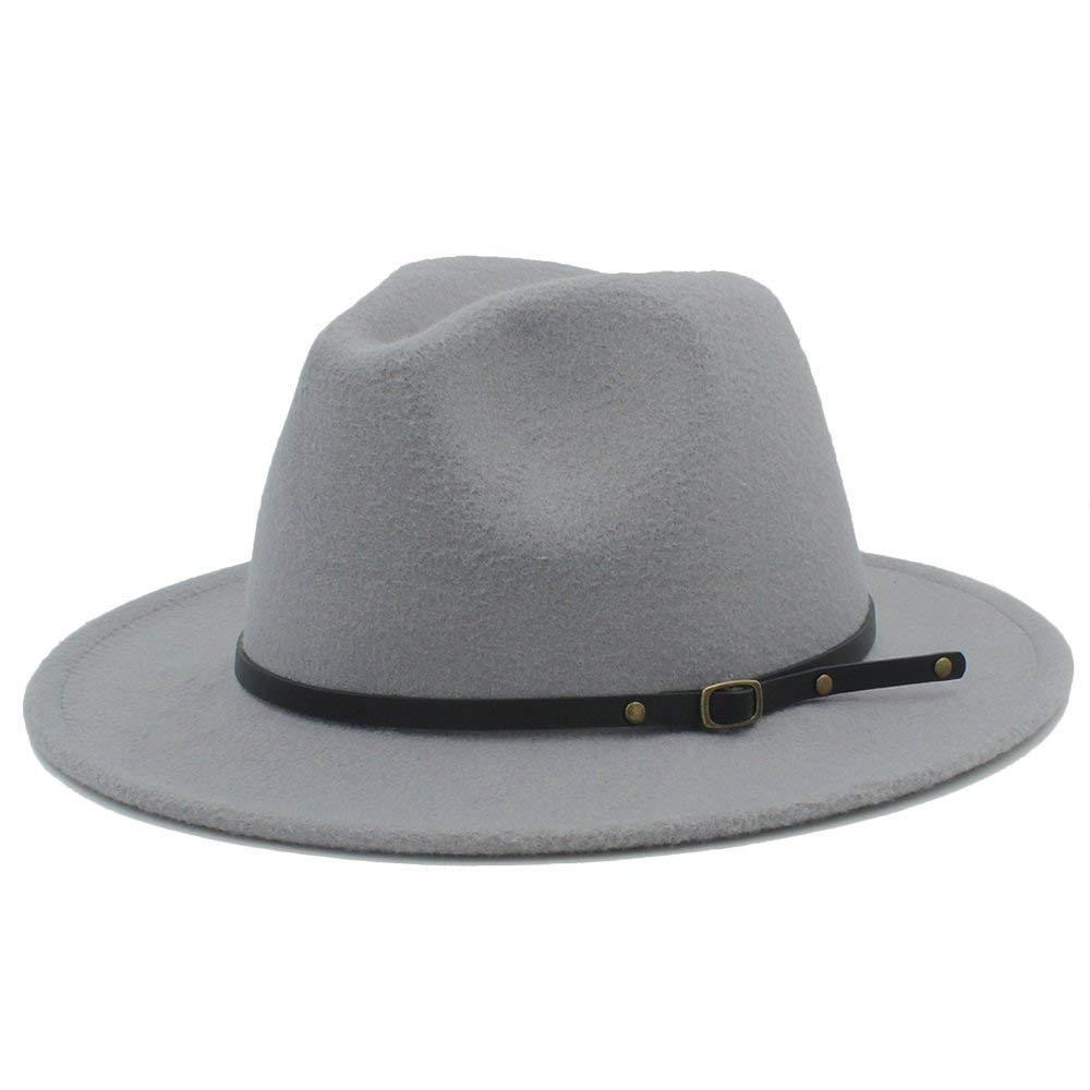 Achun Mütze Winterherbst-Fedora-Hut mit Leder