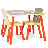 Kids Table and 2 Chairs Set Desk Cartoon Pattern + FREE E-Book