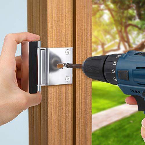 Home Security Door Lock, Childproof Door Reinforcement Lock with 3'' Stop Withstand 800 lbs for Inward Swinging Door, Upgrade Night Lock Double Protection Your Home (Silver-2 Pack) by Senignol (Image #3)