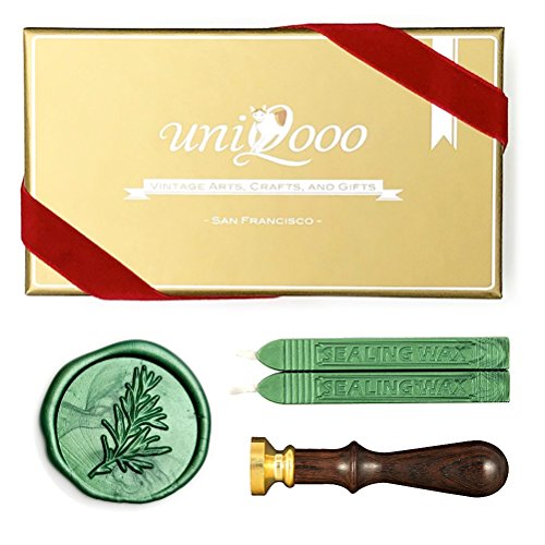 UNIQOOO Arts & Crafts Rosemary Botanical Twig Green Plants Wax Seal Stamp Kit, 2 Emerald Green Wick Wax Sticks, Great Embellishment of Greeting Cards, Wedding Invitations, Snail Mails, Gift ()