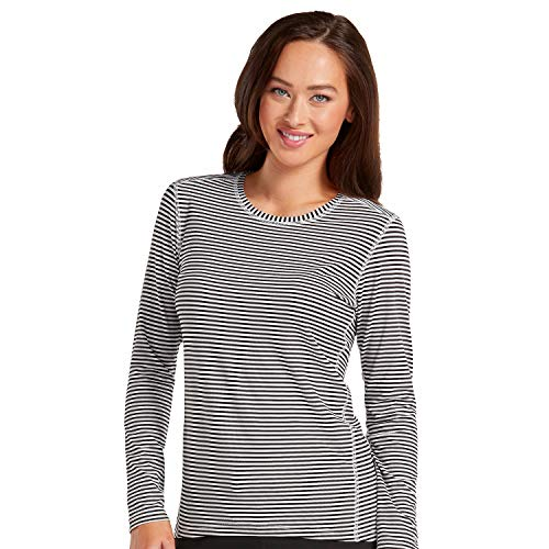 Med Couture Performance Longsleeve Knit Stripe Tee for Women, Black/White, Medium ()