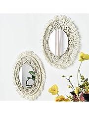 Wall Mirror Macrames Beautiful 2PCS Style Handmade Macrame Outsky Hanging Boho Fringe Round Decorative for Apartment Living Room Bedroom Baby Nursery Home Decor