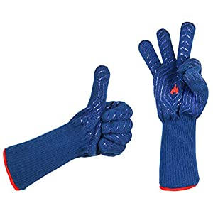 LaTazas Extreme Heat Resistant Grill Oven Mitts, Hot 932°F (EN407) 14 Inches Extra Long and Thick Protection BBQ Gloves for Grilling, Cooking, Fireplace, Barbecue and Pot holders with Blue, Set of 2