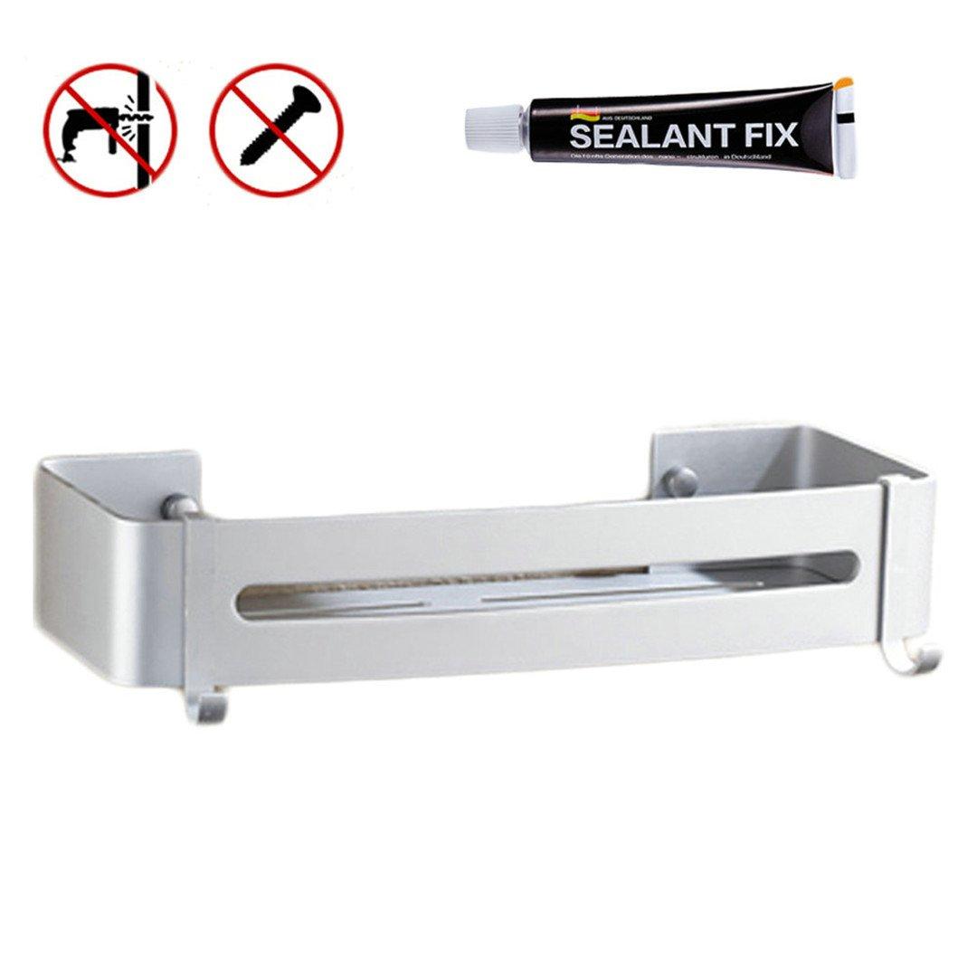 Shower Corner Caddy Bathroom Shower Corner Shelf, Self Adhesive with Glue Or Wall Mount with Screws,Heavy Duty Aluminum 1 Rectangle
