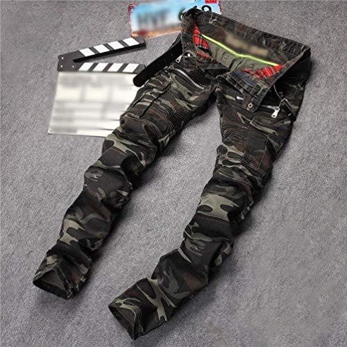 Stretch Con Jeans Giovane Multi Fit Distrutti Cargo Uomo Da Pantaloni Biker pocket Pants Camo Dunkelgrün Denim 7xSTqxw4