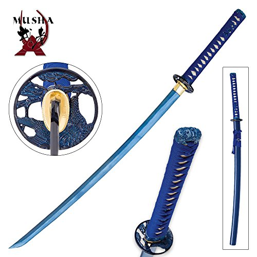 (Musha Raptor Blue Full Tang Damascus Steel Samurai Sword Katana Blue Saya)