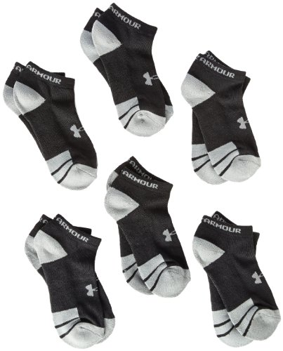 Under Armour Youth Resistor No Show Socks, Black, Youth Large (Pack of 6) (Black Under Armour Youth Shoes)