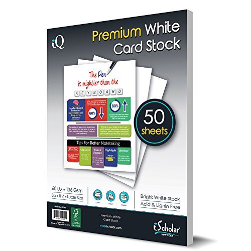 iQ Premium White Card Stock Paper, Laser and Inkjet Compatible, 8.5 x 11 Inches, 60 Lb, 136 GSM, 50 Sheets (80960)
