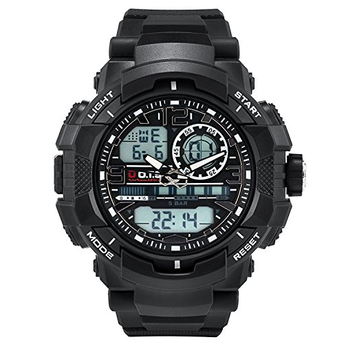 (Men's Sports Watch, PALADA T8073 Dual-Display Waterproof Outdoors Military Digital Watch with Big Dial and)