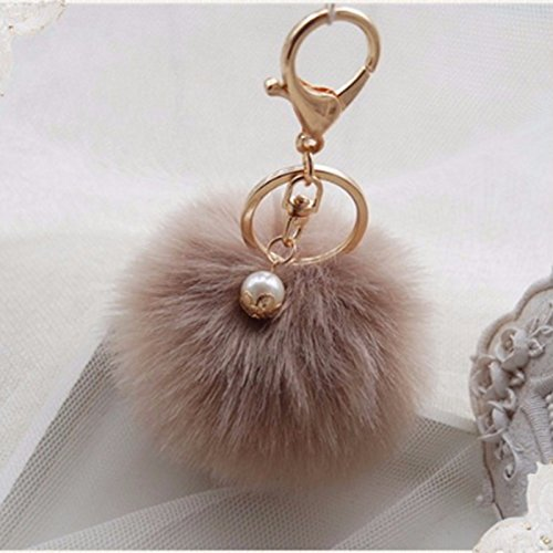 JiaHui Brown Manual Original Gold Plated Keychain,Faux Rabbit Fur Bag Car Decoration,Ball Pom Key Chain for Car Key Ring & Handbags & Tote Bags,Pendant Charm,Best Gift for Woman