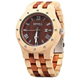 Bewell Men Wooden Quartz Watch Round Dial Analog Wristwatch-MAPLE WITH RED SANDALWOOD