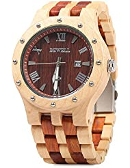 Bewell W109A Men Wooden Quartz Watch Round Dial Analog Handmade Wood Wristwatch (Maple and Red)