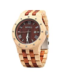 Bewell Men Wooden Quartz Watch Round Dial Analog Wristwatch-MAPLE WITH RED SANDALWOOD