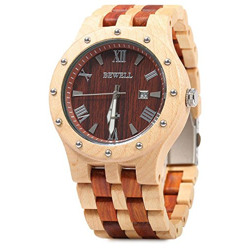 GBlife Bewell Men Wooden Quartz Watch Round Dial Analog Wristwatch-MAPLE WITH RED SANDALWOOD