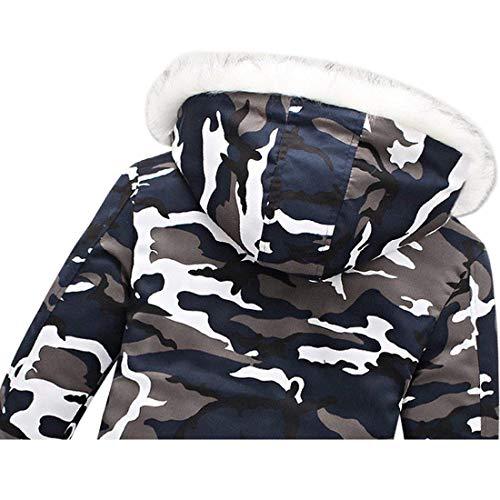 Freddo Abbigliamento Blau Outwear Lunghe Camuffamento Fit Slim Moda Maschile Incappucciato Caldo Maniche Inverno A Cappotto gRHqwBn0